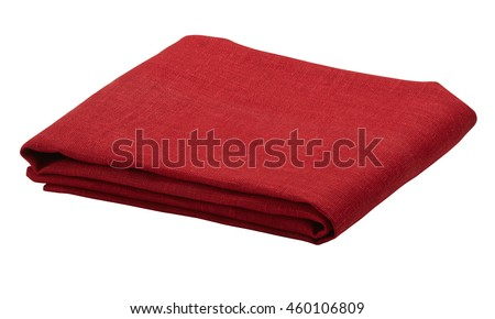 Folded tablecloth isolated on white background. Include clipping path