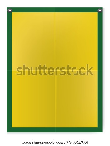 Folded texture yellow blank paper poster illustration - stock photo