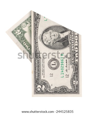 Folded two dollars bill isolated on white background