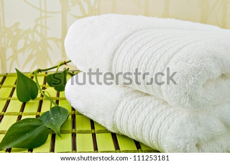 Folded white bath towels and ivy plant  White Bath Towels. White Bath Towel Stock Photos  Royalty Free Images  amp  Vectors