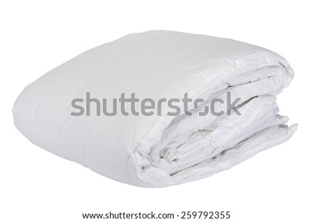 Folded white duvet cover on white isolated background