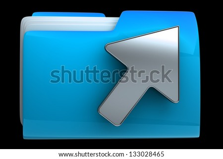 folder and arrow icon. Date download High resolution 3D