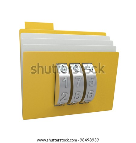 Folder and combination lock isolated on white background - stock photo