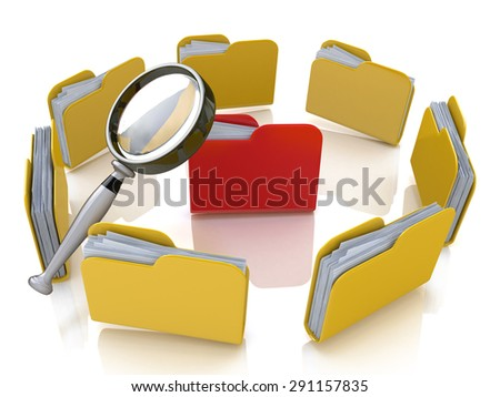 Folder and file search with magnifying glass  - stock photo
