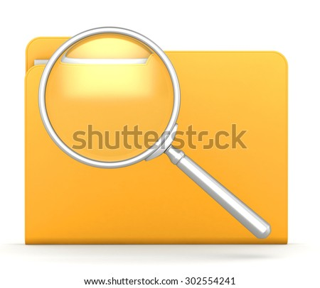 Folder and file search with magnifying glass. - stock photo