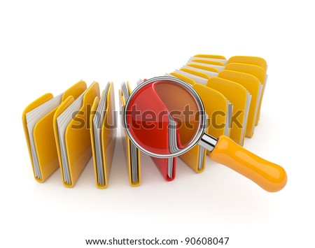 Folder and file search with magnifying glass. 3D isolated on white background - stock photo