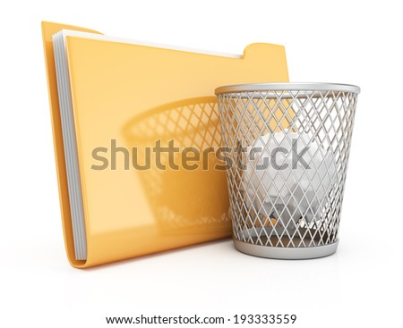 Folder and wastepaper basket isolated on white background. 3d rendering illustration - stock photo