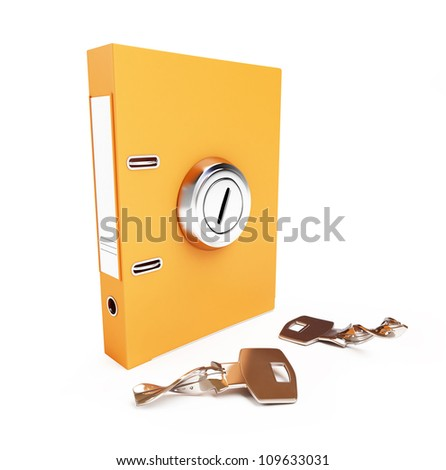 folder broken key the keyhole on a white background - stock photo
