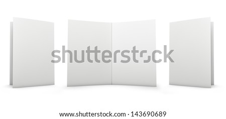 Folder - cover and inside. Isolated on white. - stock photo