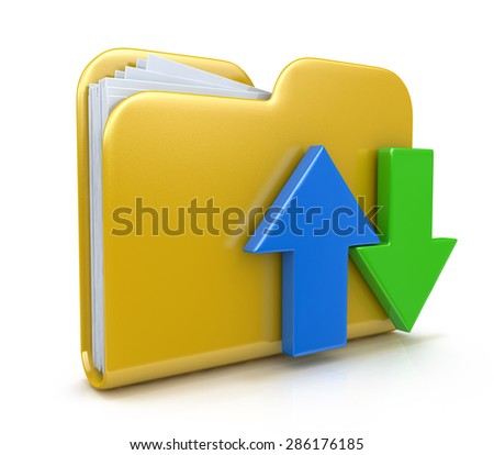 Folder 3d icon. Date transferring concepts  - stock photo