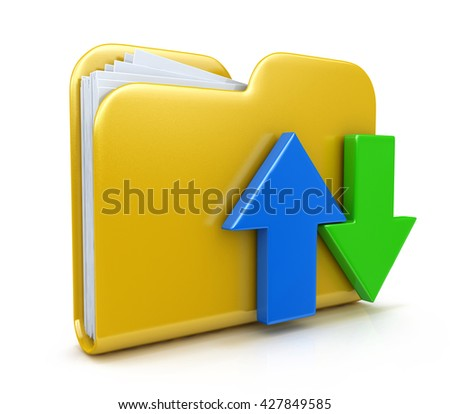 Folder 3d icon. Date transferring concepts in the design of the information related to computer technology. 3d illustration - stock photo