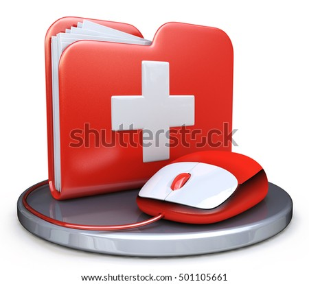 Folder File First Aid in the design of information related to information technology. 3d illustration
