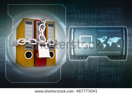 Folder for documents and the padlock with the inscription security, 3D rendering