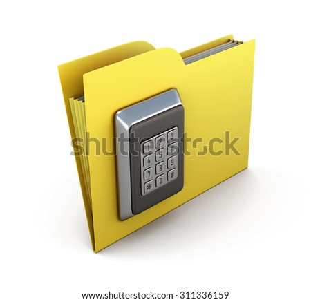 Folder for papers with a combination lock. The concept of protection of the information in your computer. 3d render image. - stock photo