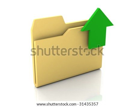 Folder icon from set. Standard yellow folder with green arrow isolated on white