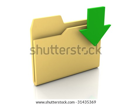 Folder icon from set. Standard yellow folder with green arrow isolated on white - stock photo