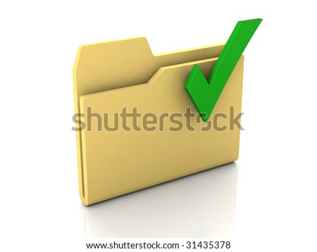 Folder icon from set. Standard yellow folder with green check mark isolated on white - stock photo