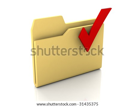 Folder icon from set. Standard yellow folder with red check mark isolated on white - stock photo