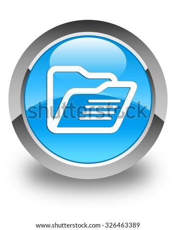 Folder icon glossy cyan blue round button - stock photo