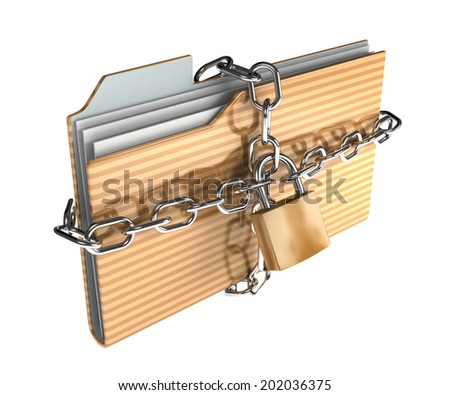 Folder icon set series. folder surrounded by chains with metal lock - stock photo