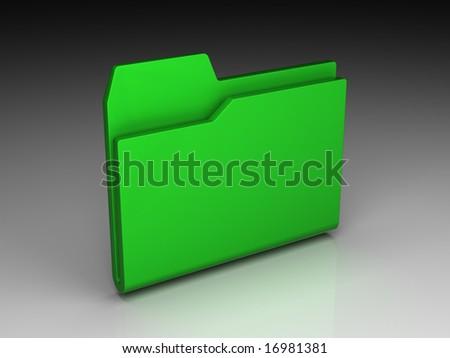 Folder icon set series. Green folder on background of the gradient - stock photo