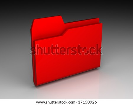Folder icon set series. Red folder on background of the gradient - stock photo