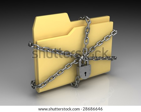 Folder icon set series. Standard yellow folder surrounded by chains with metal lock on background of the gradient