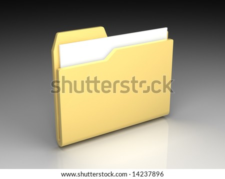 Folder icon set series. Standard yellow folder with documents on background of the gradient