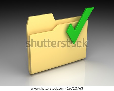 Folder icon set series. Standard yellow folder with green check mark on background of the gradient - stock photo