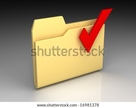 Folder icon set series. Standard yellow folder with red check mark on background of the gradient - stock photo