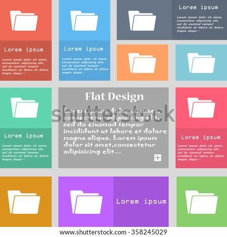 Folder icon sign. Set of multicolored buttons with space for text. illustration