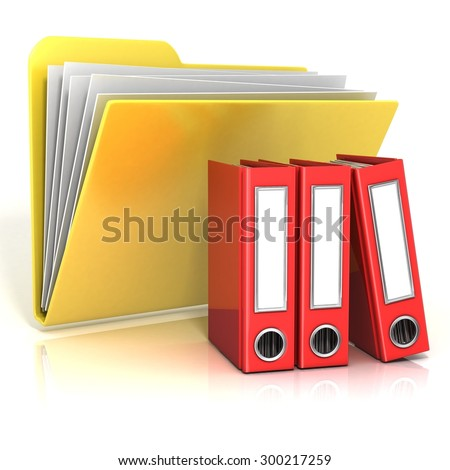 Folder icon with red ring binders. 3D render illustration, isolated on white background - stock photo
