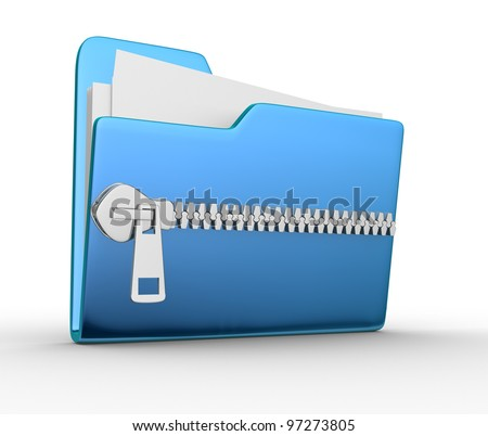 Folder icon with zip, over white background. 3d render - stock photo