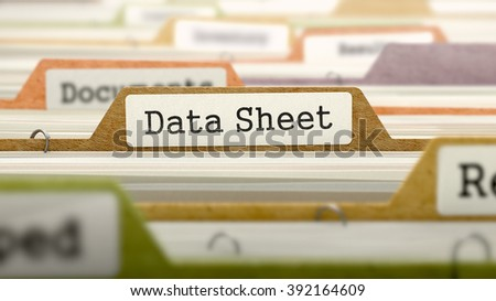 Folder in Colored Catalog Marked as Data Sheet Closeup View. Selective Focus. 3D Render.