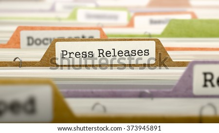Folder in Colored Catalog Marked as Press Releases Closeup View. Selective Focus. 3d Render. - stock photo