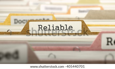Folder in Colored Catalog Marked as Reliable Closeup View. Selective Focus. 3D Render.