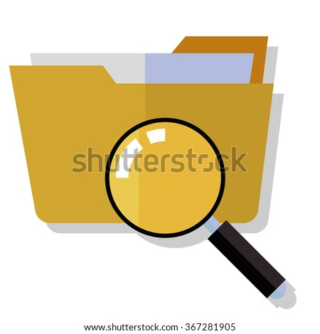 folder search icon - folder under the magnifier.  - stock photo
