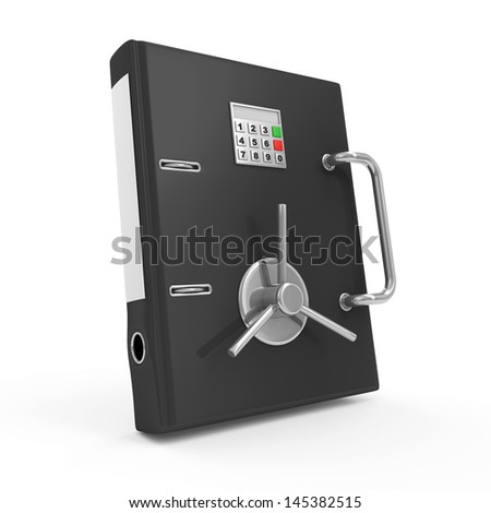 Folder Security Concept. Folder for Documents with Safe Door isolated on white background - stock photo