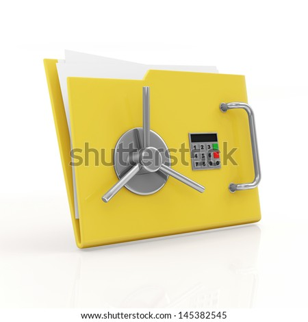 Folder Security Concept. Yellow Folder with Safe Door isolated on white background - stock photo