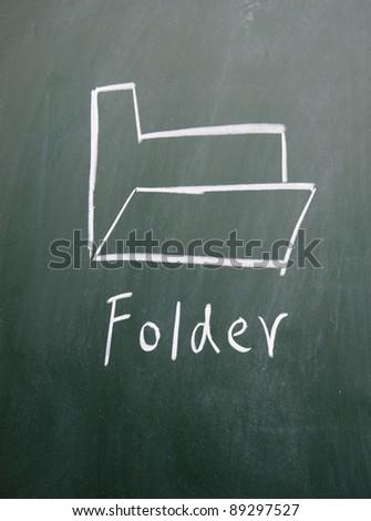 folder sign drawn on the blackboard - stock photo