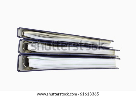 Folder stack with papers on white background. - stock photo