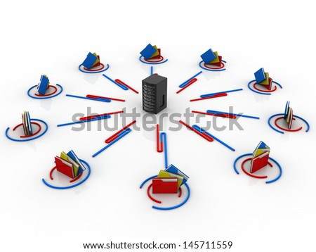 Folder Structure with Server - stock photo