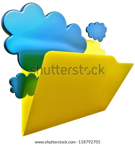 folder with blue clouds as symbol of cloud storage - stock photo
