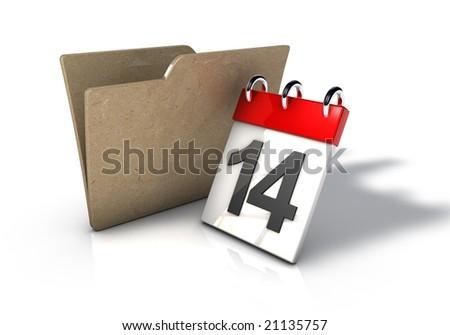 Folder with Calendar Date Icon - stock photo