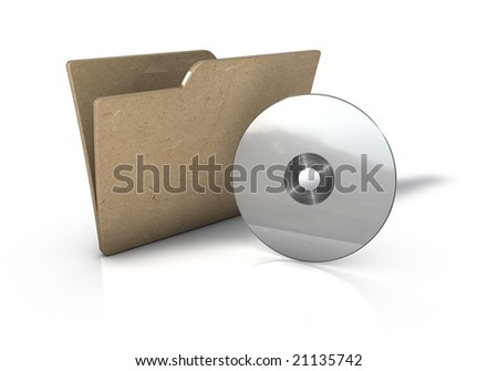 Folder with CD Icon - stock photo