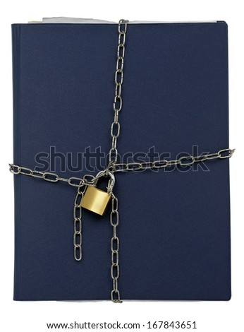 folder with chain and padlock isolated - stock photo