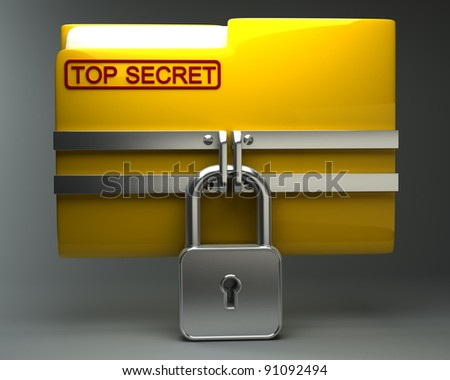 Folder with closed padlock (Top secret) High resolution. 3D image