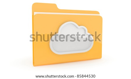 Folder with content icon on white background - stock photo