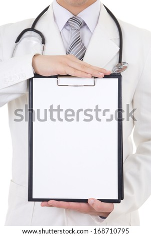folder with copy space for text in male doctor's hands - stock photo