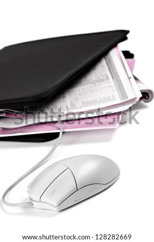 folder with documents and mouse, vertical image